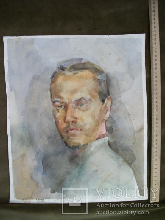 2. Картина. Портрет мужчины, акварель, ватман. Размер 33*40 см