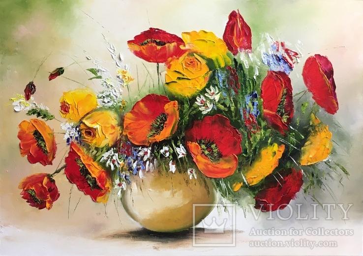 Картина «Букет цветов» масло мастихин 50х70см