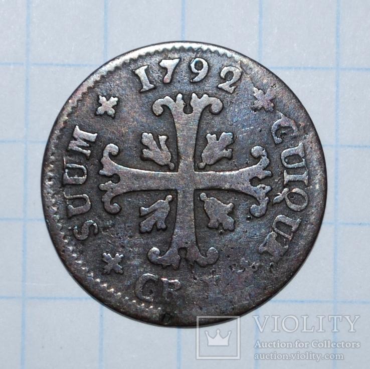 Швейцария 1/4 батцена Невшатель 1792 г.