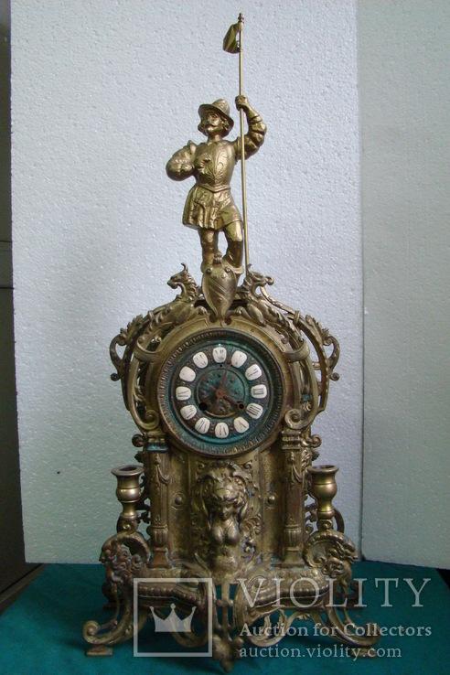 Палацевые часы (каминные).Старая бронза .Франция