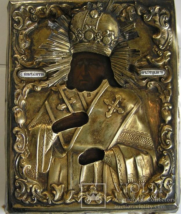 Икона Св. Инокентий Иркутский 1840г , оклад 84 пр