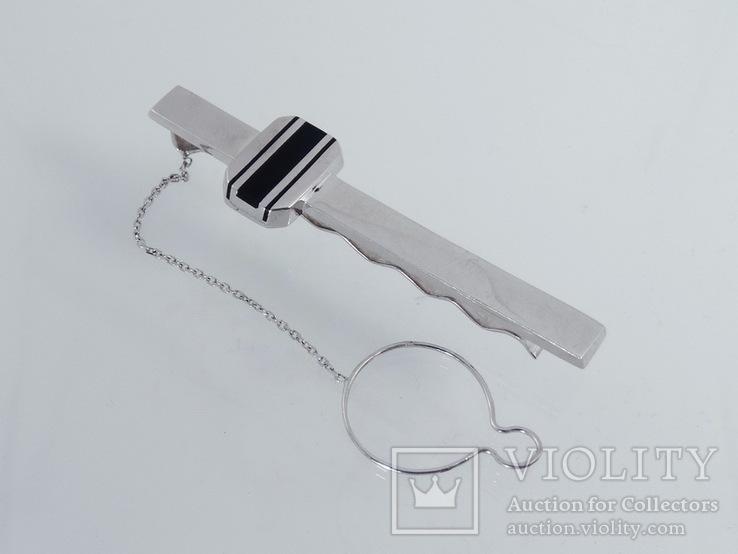 Зажим для галстука с ониксом., фото №2