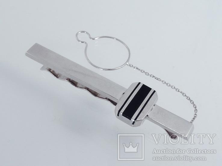 Зажим для галстука с ониксом., фото №4