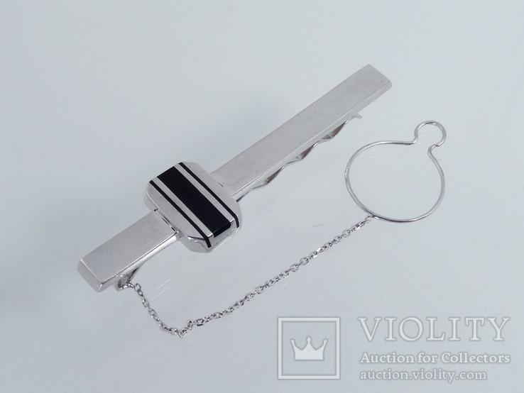 Зажим для галстука с ониксом., фото №5