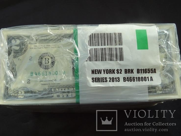 2 доллара США 2013 г UNC 1000 банкнот номера подряд штат NEW YORK
