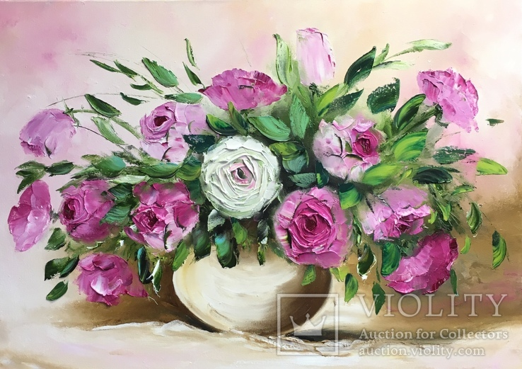 Картина «Букет очаровательных роз» масло мастихин 50х70см