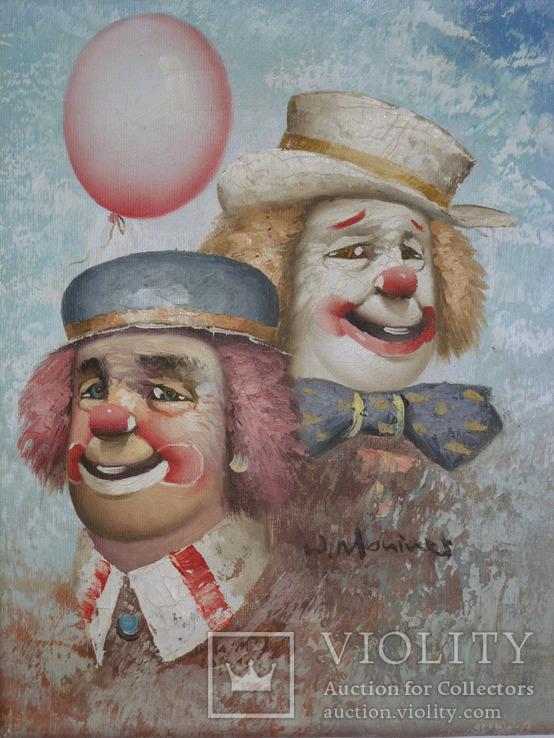 Клоуны. Американский художник-импрессионист WILLIAM MONINET (1937-1999) масло 25х20