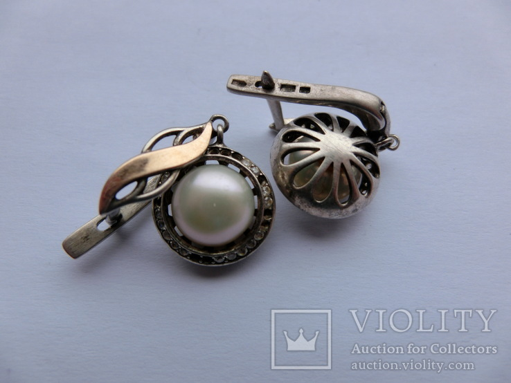 Серьги Серебро + Золото + Камни, фото №3