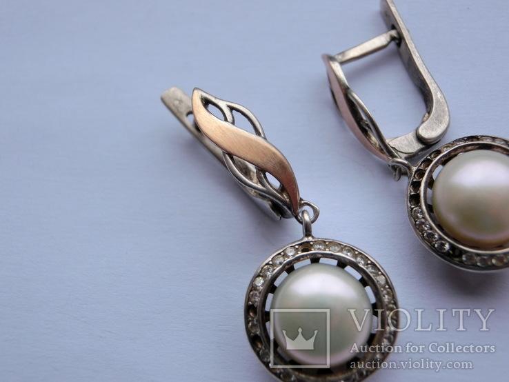 Серьги Серебро + Золото + Камни, фото №4