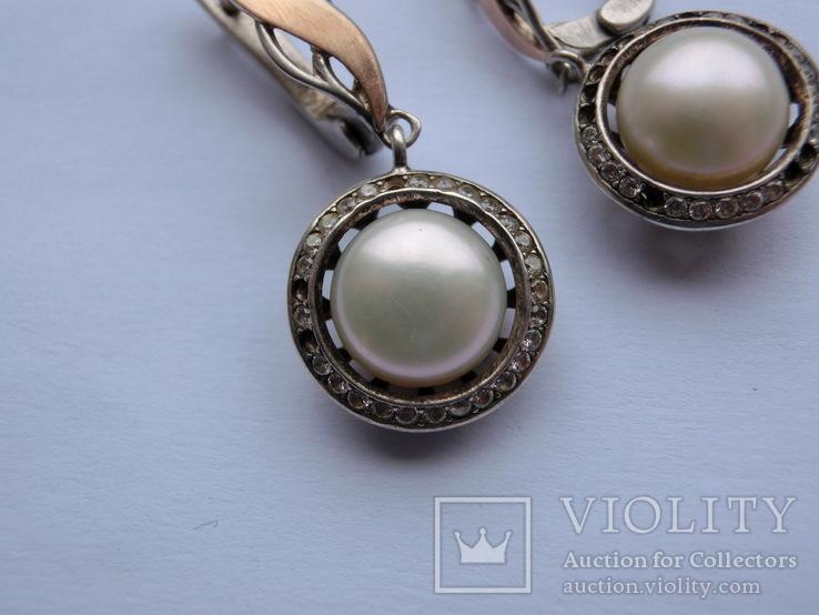 Серьги Серебро + Золото + Камни, фото №5