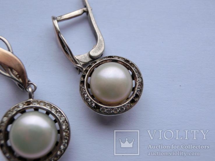 Серьги Серебро + Золото + Камни, фото №6