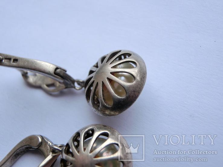 Серьги Серебро + Золото + Камни, фото №10