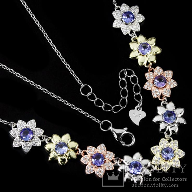 Ожерелье с натуральными танзанитами, фото №4