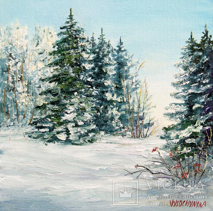 Зима. Пейзаж. Олія, полотно на картоні 15х15см. 2018р. Височинська Т.Г.