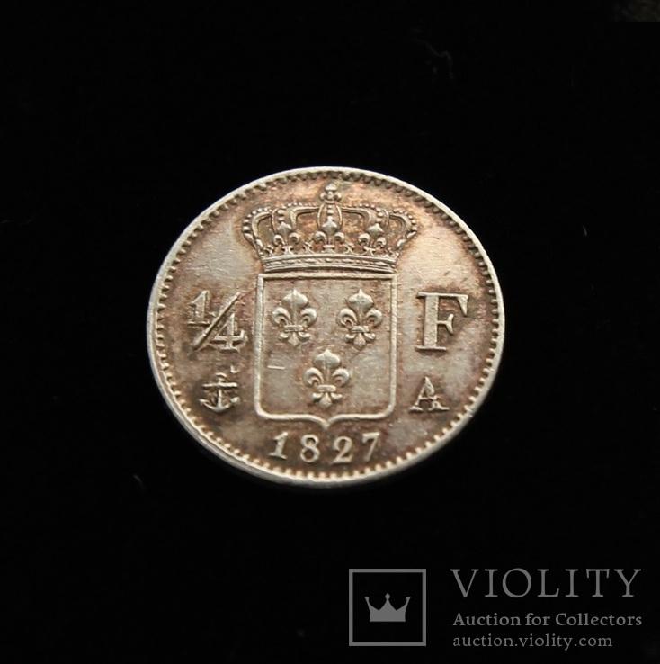 1/4 франка 1827 год Чарльз Х серебро 1.23 г