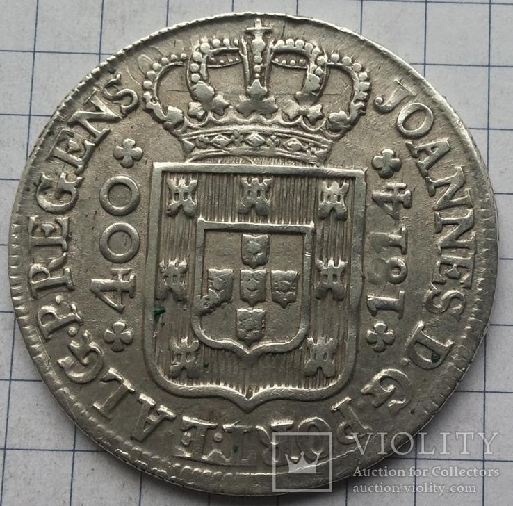 Португалия, 400 рейс 1814 года, серебро 14,37 грамма