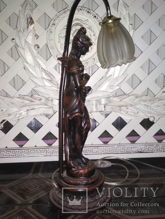 Лампа настольная светильник Девушка металл, фото №6