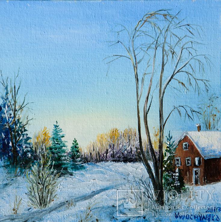 Зимовий пейзаж. Олія, полотно на картоні 15х15см. 2018р. Височинська Т.Г.