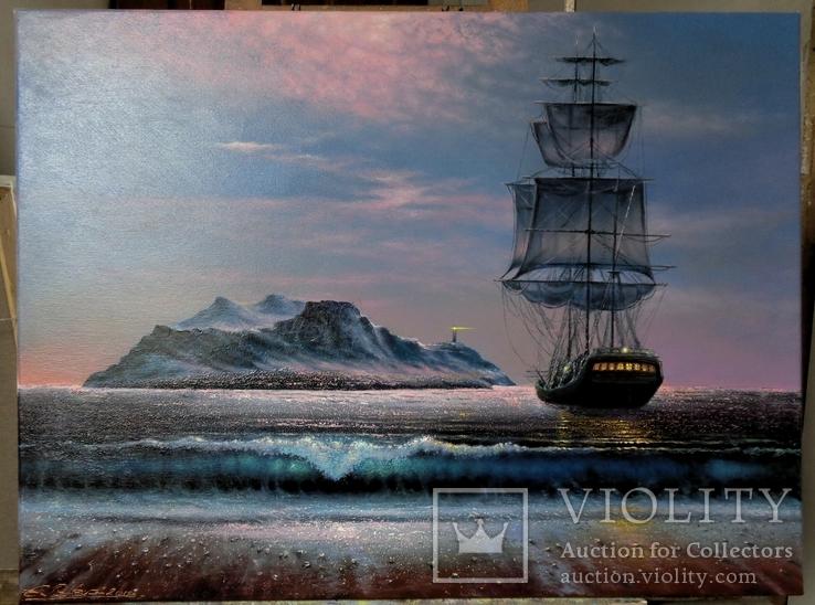 ''Лунная ночь на далеких островах''. Холст, масло. 60*80.