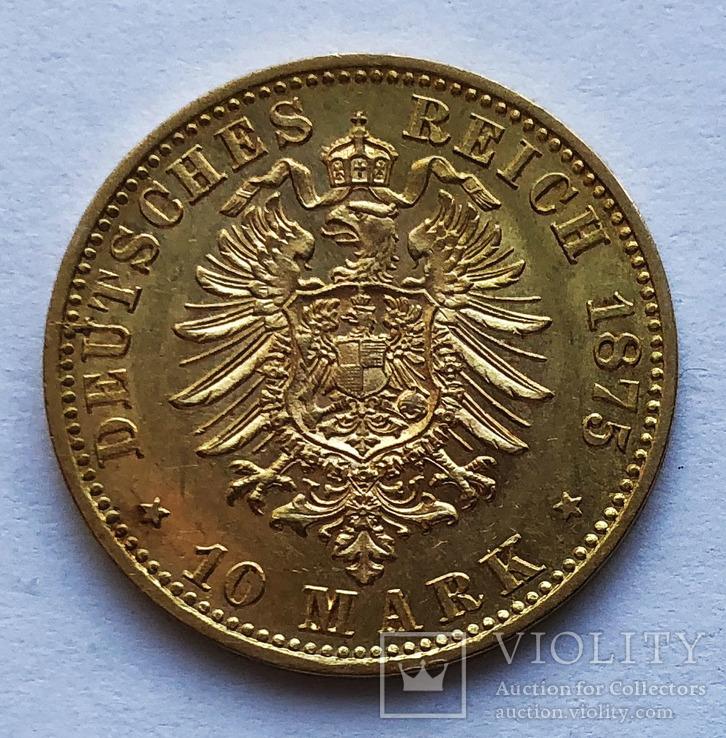 10 марок 1875 года. Пруссия. UNC.