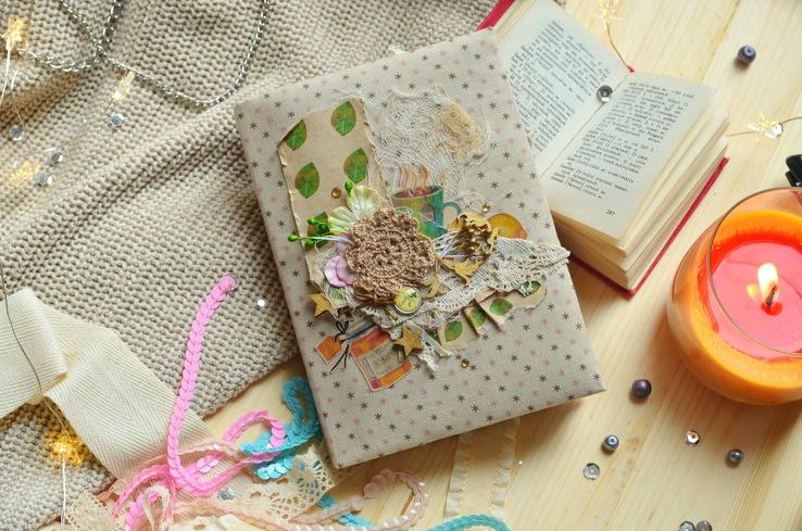 Блокнот ручной работы с нелинованными состаренными страницами -Осенний уют- 115 листов, фото №11