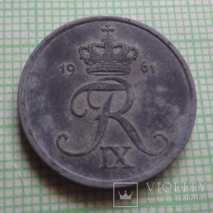 2 эре 1961  Дания    (Р.1.21)~, фото №3