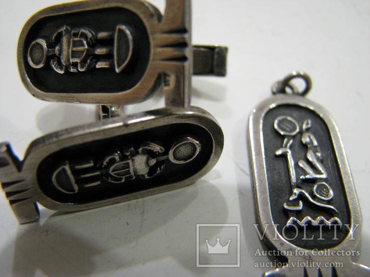 """Кулон и запонки """"Скарабей"""" Серебро., фото №2"""