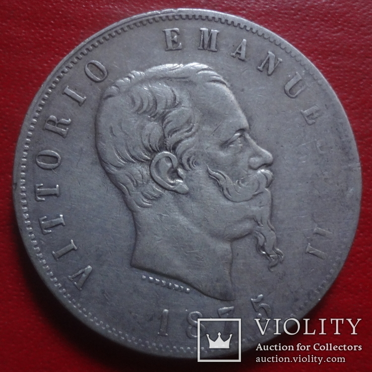 5 лир 1975 серебро Италия   (4.5.13)~