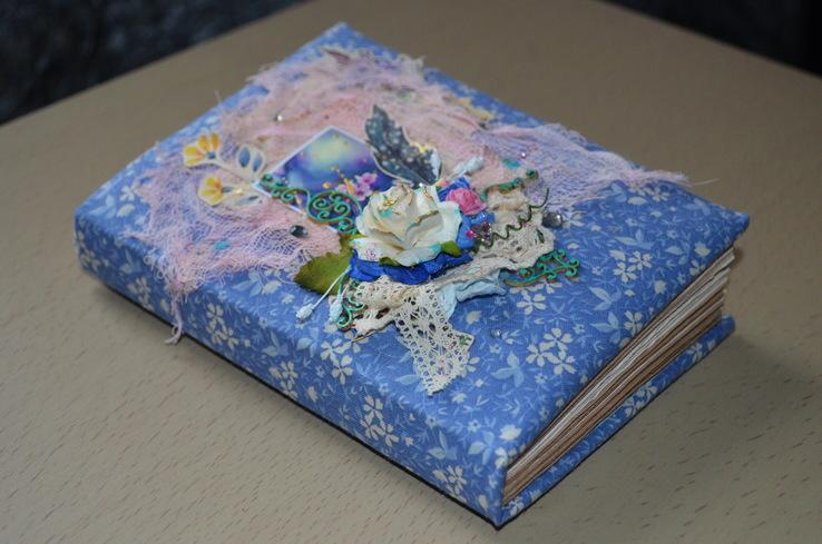 Блокнот ручной работы с нелинованными состаренными страницами -Цветочный- 100 листов