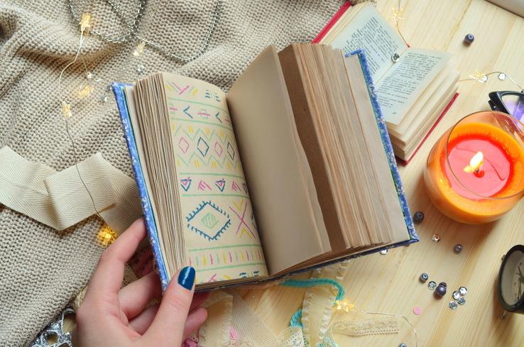 Блокнот ручной работы с нелинованными состаренными страницами -Цветочный- 100 листов, фото №13