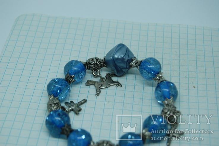 Браслет с синими бусинами, фото №3
