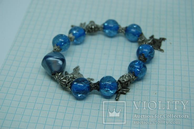 Браслет с синими бусинами, фото №5