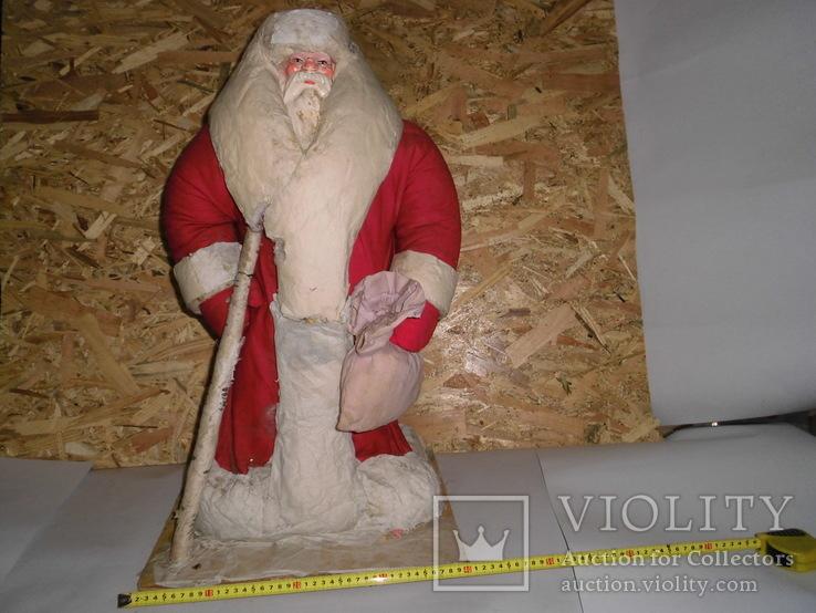 Дедушка мороз - возраст 48 лет, из СССР, 72 см.,прессопилки, на реставрацию, фото №2
