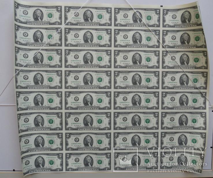 Целый не разрезанный лист 2 доллара 32 купюры 2013 год