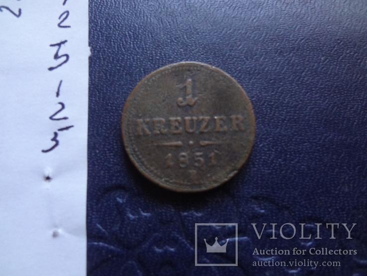 1 крейцер 1851 В Австро-Венгрия   (1.2.5)~, фото №5