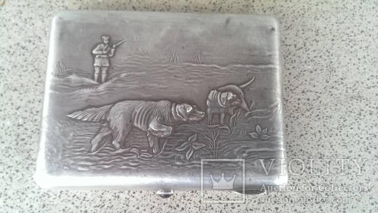 Портсигар серебро 84 проба охота дарственная надпись, фото №2