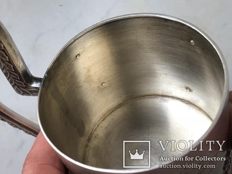 Подстаканник серебро  модерн 1918 год 200 грамм В А клеймо, фото №8