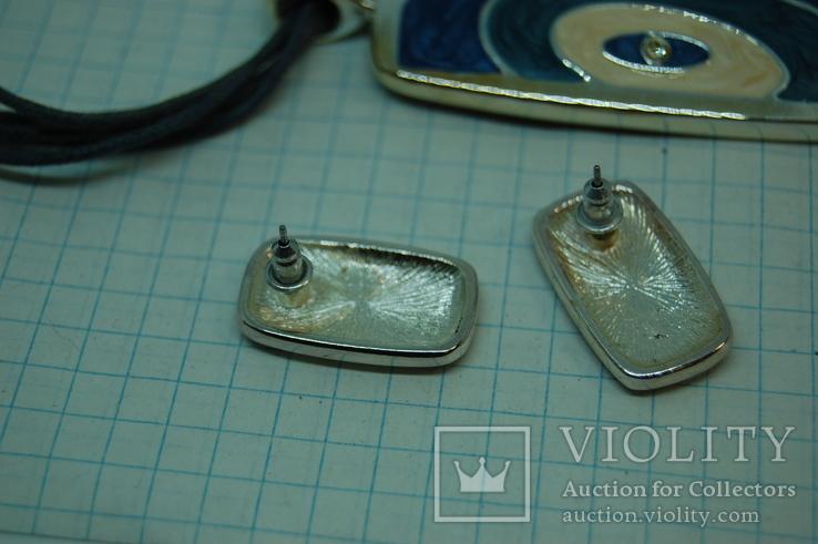 Кулон и Серьги. Тяжелый металл. Эмаль, фото №6