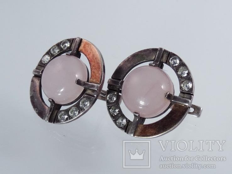 Серьги с розовым кварцем и фианитами, фото №3