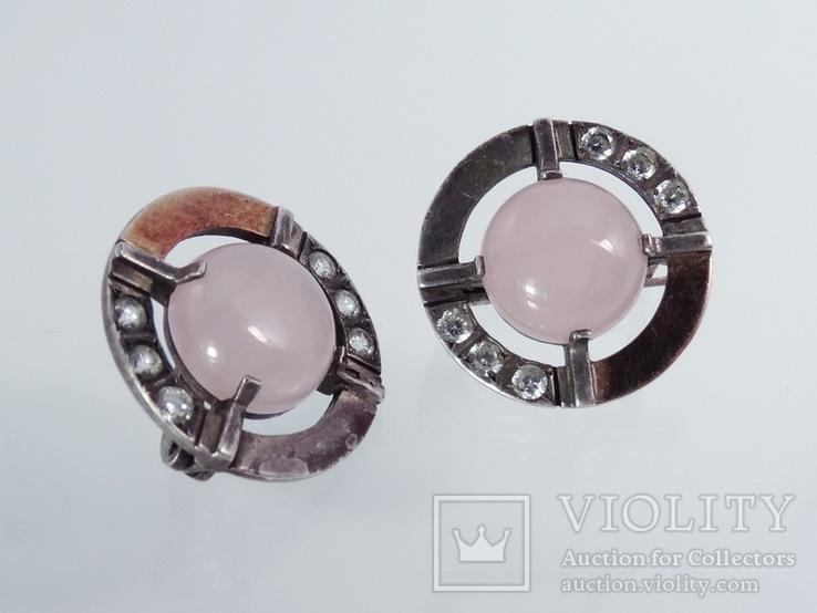 Серьги с розовым кварцем и фианитами, фото №4