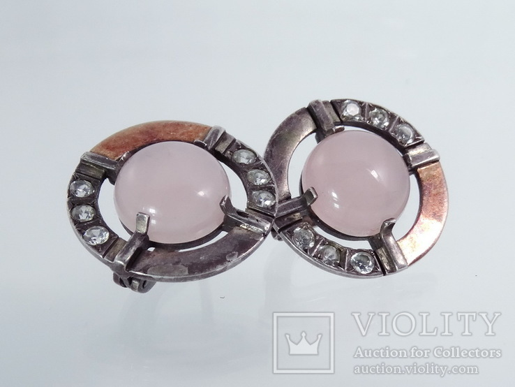 Серьги с розовым кварцем и фианитами, фото №5