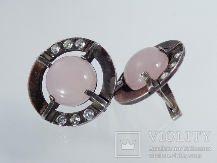 Серьги с розовым кварцем и фианитами, фото №6