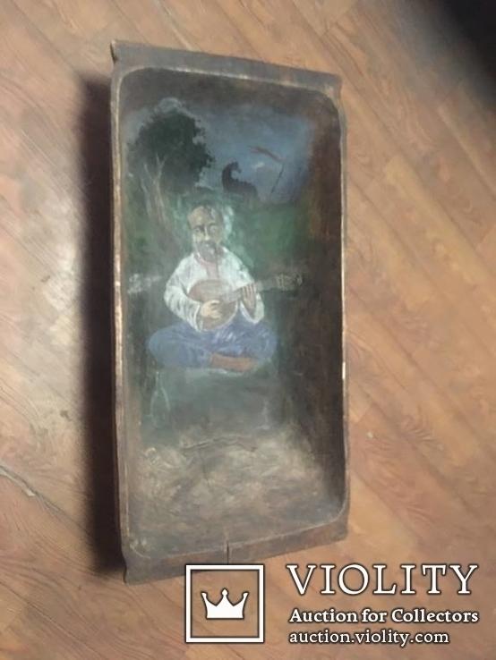 Корыто деревянное старинное с росписью Козак Мамай, фото №2