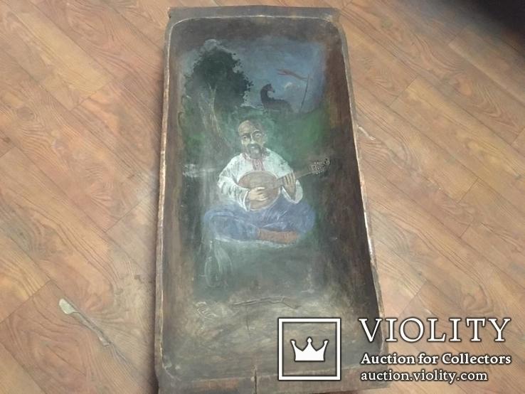 Корыто деревянное старинное с росписью Козак Мамай, фото №3