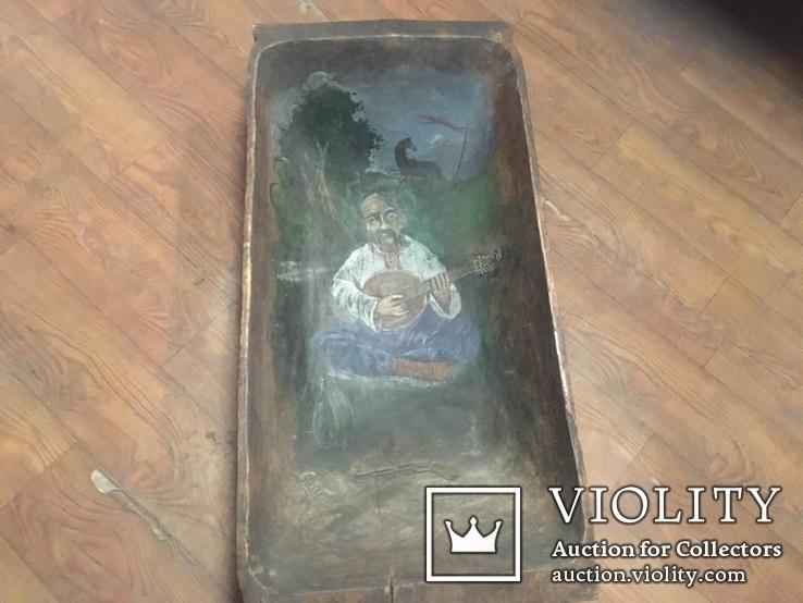 Корыто деревянное старинное с росписью Козак Мамай, фото №4