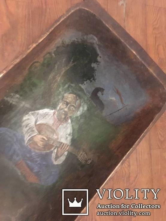 Корыто деревянное старинное с росписью Козак Мамай, фото №5