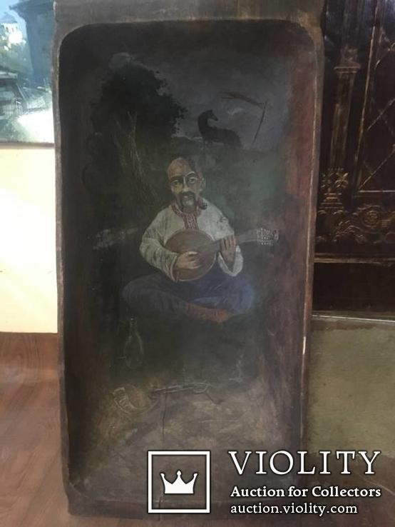 Корыто деревянное старинное с росписью Козак Мамай, фото №6
