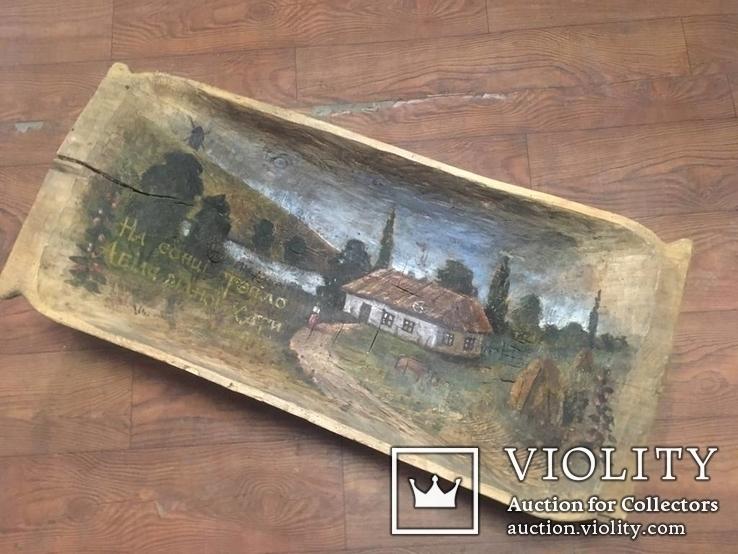 Корыто деревянное старинное с росписью Хата и пейзаж, фото №2