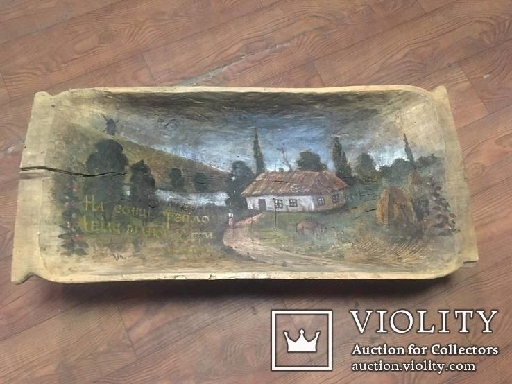 Корыто деревянное старинное с росписью Хата и пейзаж, фото №9