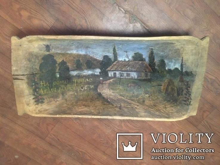 Корыто деревянное старинное с росписью Хата и пейзаж, фото №11